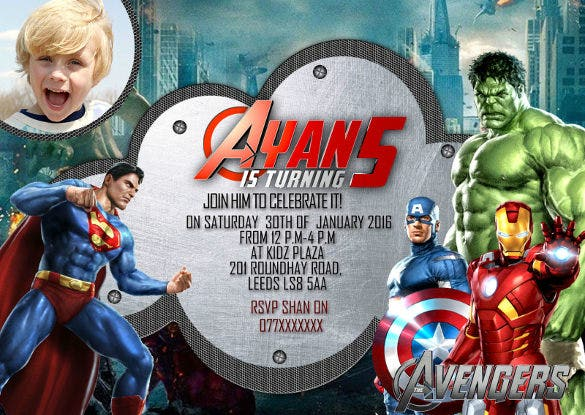 Personalized Birthday Invites Thank You Card Avengers Super Hero Marvel