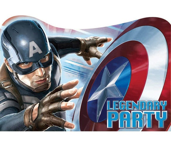 captain america invitations birthday and theme party