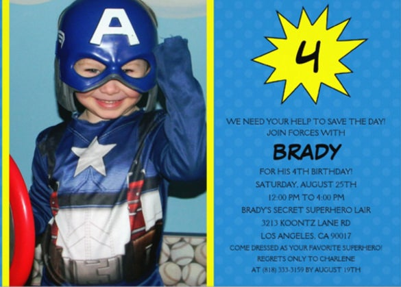 blue save the day superhero photo birthday party invitation card