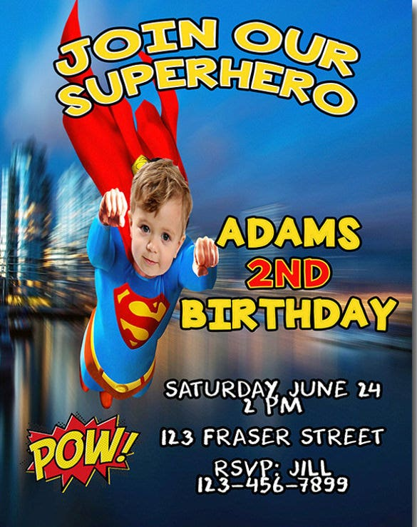 Boys Birthday Invitation Super Hero Invite