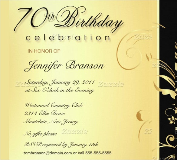 Elegant Gold Floral Style Adult Birthday Invitation