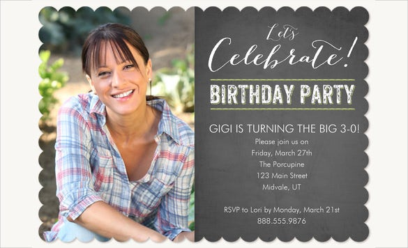 Single Sided Matte Adult Birthday Invitation With Custom Photo