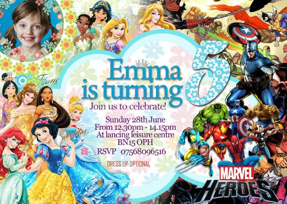 personalised birthday party invitations disney princess1