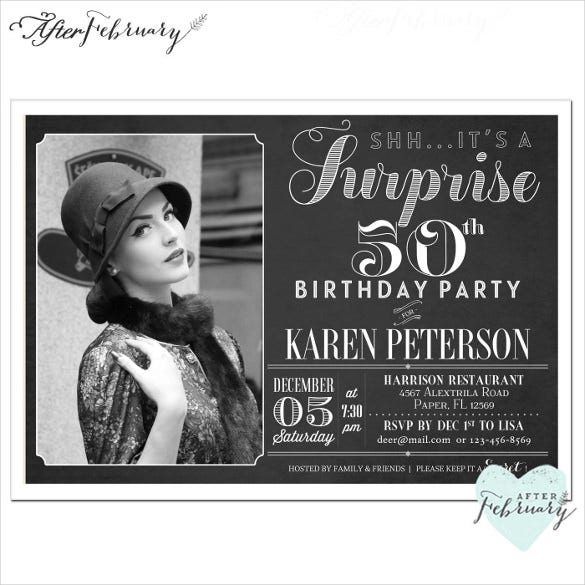 charcoal black adult birthday invitation with custom photo