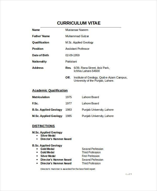 geologist resume template