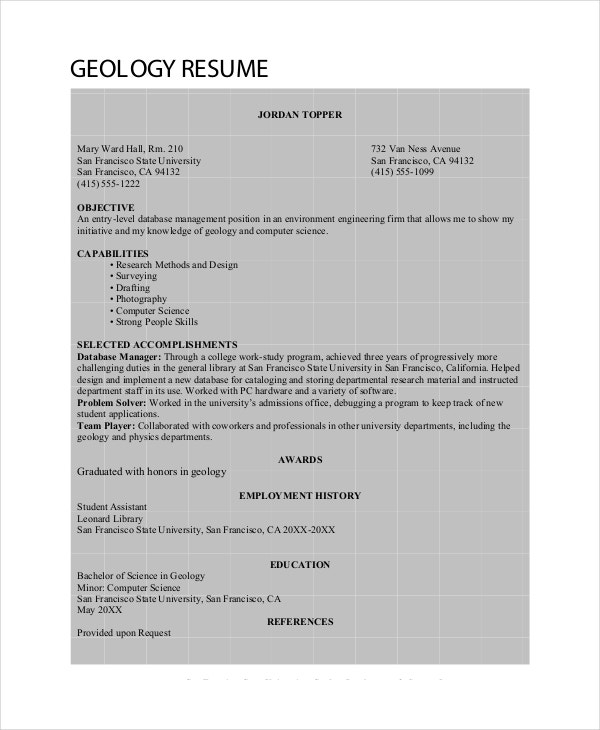 Geologist Resume Template 6 Free Word Pdf Documents