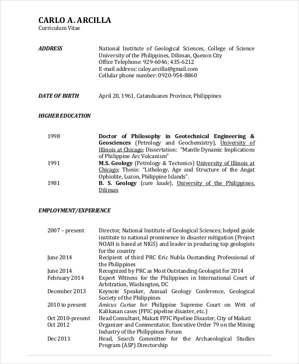 geologist resume template 6 free word pdf documents download - Geologist Cover Letter