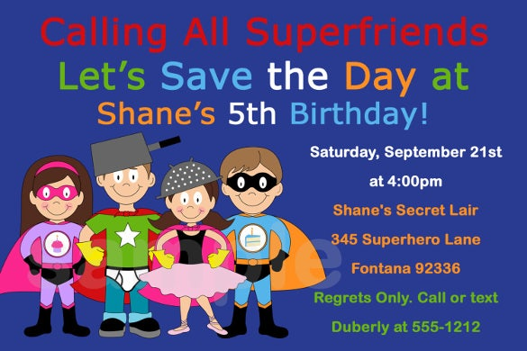 Super Hero Birthday Invitation SuperHero Party