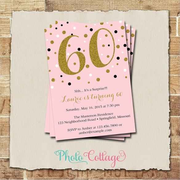 Elegant Pink Gold Adult Birthday Invitation For Woman