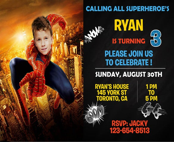 First Spiderman Birthday Invitation SuperHero