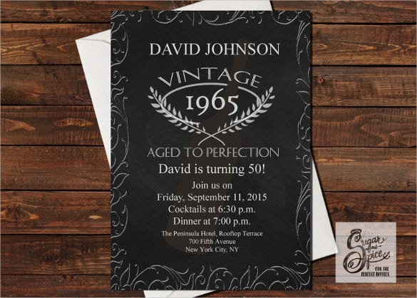 vintage black adult birthday invitation