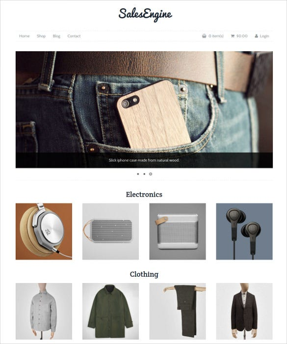 ecommerce online store wordpress php theme