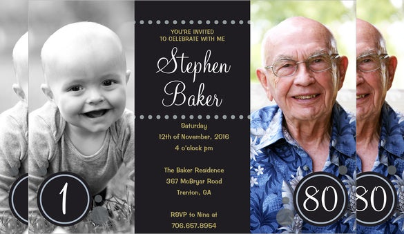 double photo framed black adult birthday invitation
