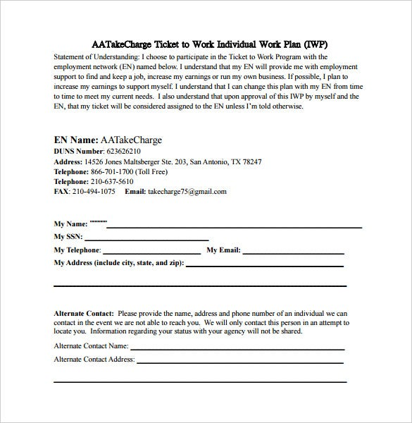 Ticket To Work Individual Work Plan Sample PDF Free Download