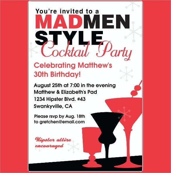 red and black cocktails adult birthday invitations
