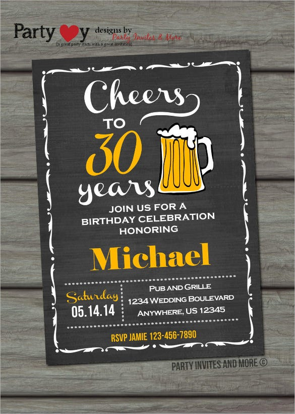 beer chalkboard style adult birthday invitation
