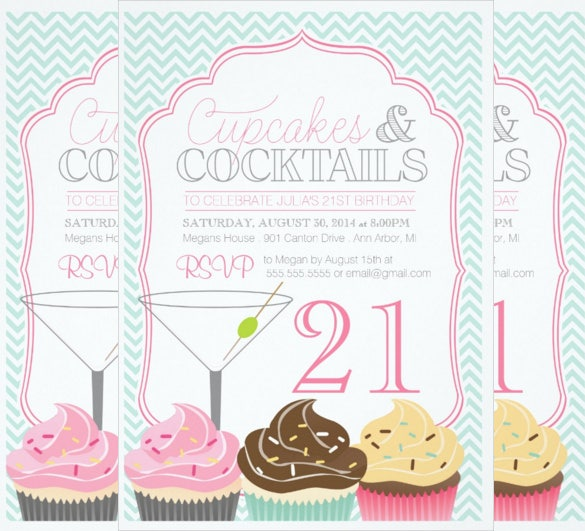 simple and beautiful adult birthday invitation party with cocktails and cupcakes