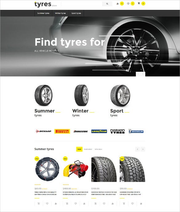 tyres store ecommerce opencart template