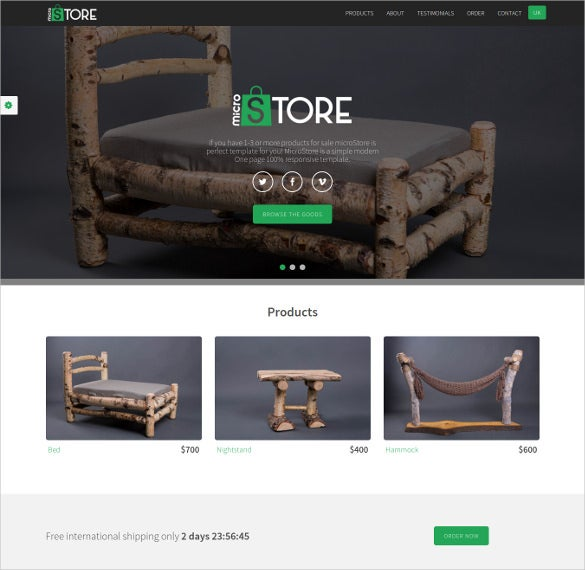 one page ecommerce store template