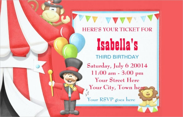 Pink Colour Carnival Birthday Invitation For Girls