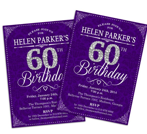 60th birthday invitation purple silver diamonds damask printable invitation