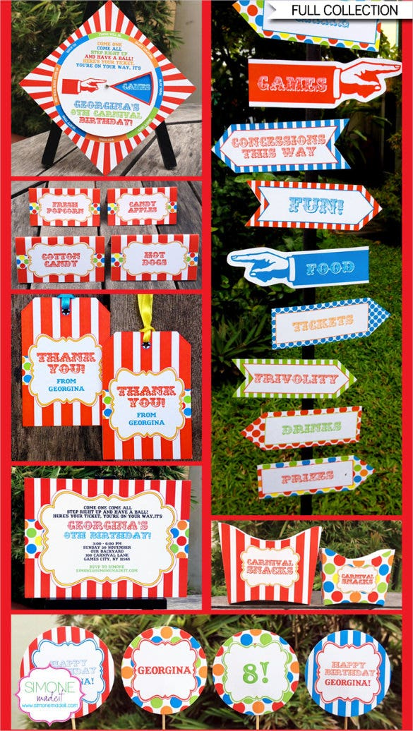 Carnival Birthday Invitation With Editable Text
