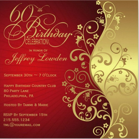 Red Gold 60th Birthday Party Invitation Download