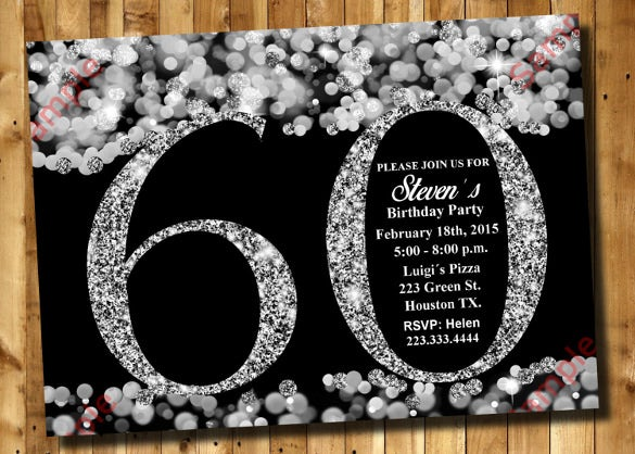 60th birthday invitation silver glitter invitation