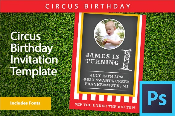 carnival themed birthday invitation template in psd