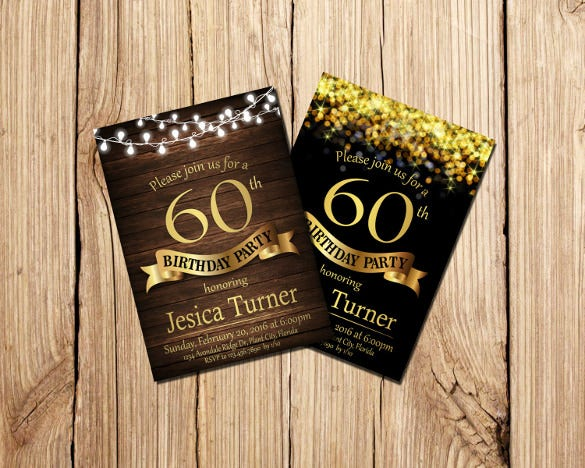 60th Birthday Invitation Templates 24 Free PSD Vector EPS AI