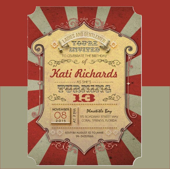 Red Chevron Carival Birthday Invitation Template