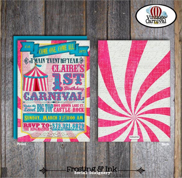 30 Carnival Birthday Invitation Templates Free Sample Example – Carnival Party Invitation Templates