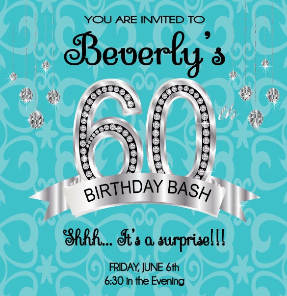 60th birthday invitation diy or printable
