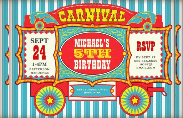Vintage Animated Wagon Carnival Birthday Invitation