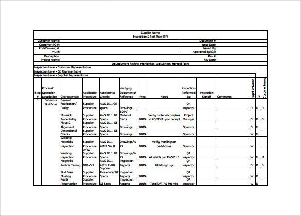 Inspection Test Plan Example PDF Template Free Donload