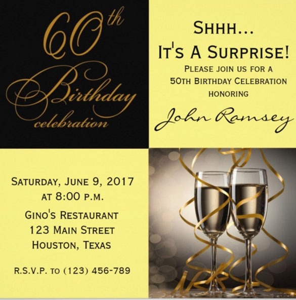 Surprise 60th Birthday Party Invitation  Free Birthday Invitation Templates For Word