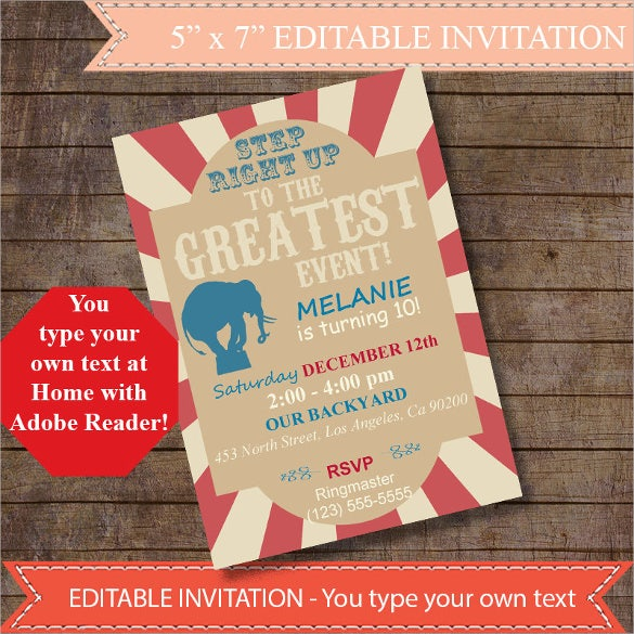 home editable vintage carnival invitation