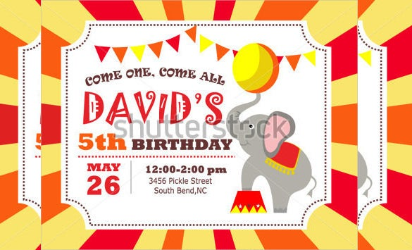 red and yellow carnival birthday invitation