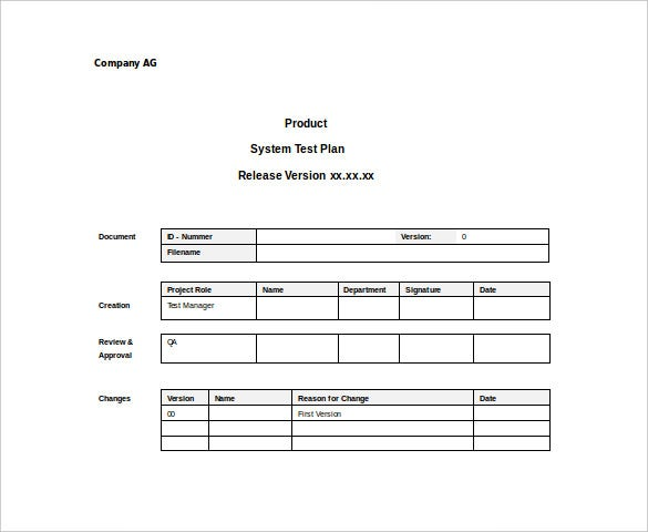 System Test Plan Sample Word Template Free Download