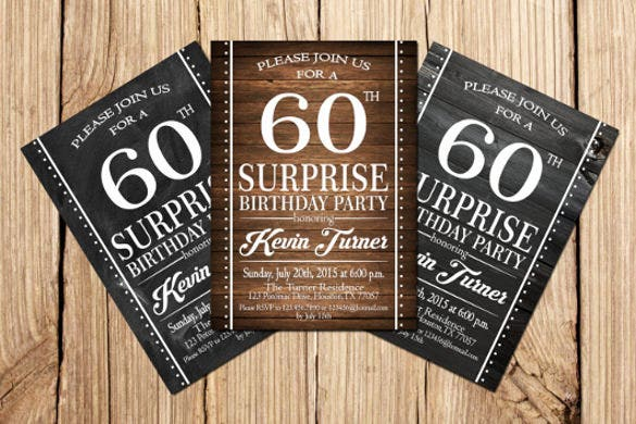 60th birthday party invitation vintage1