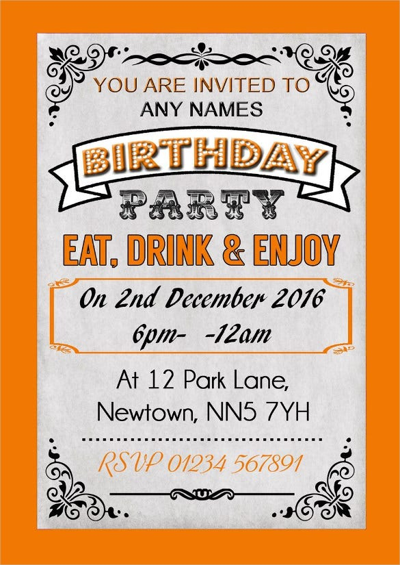 Orange Colour Vintage Carnival Personalised Birthday Party Invitation