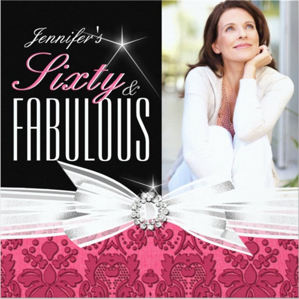 fabulous 60 photo damask pink 60th birthday party invitation