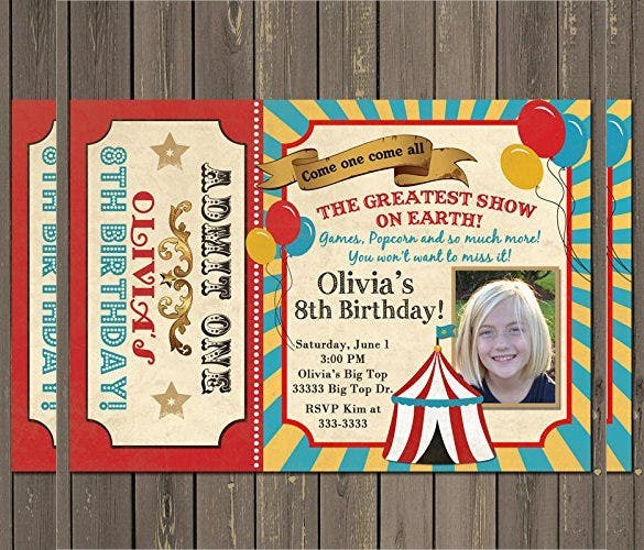 Vintage Look Carnival Birthday Party Invitation For All Age