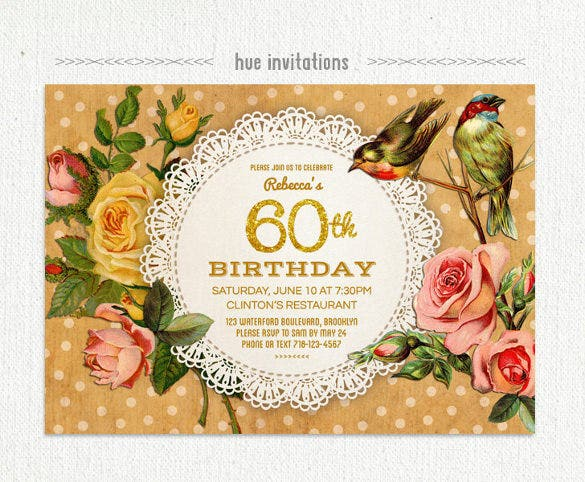 rustic 60th birthday party invitation