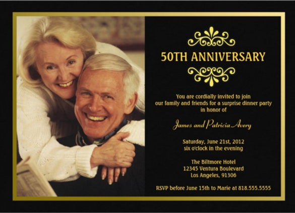 black and gold anniversary invitation