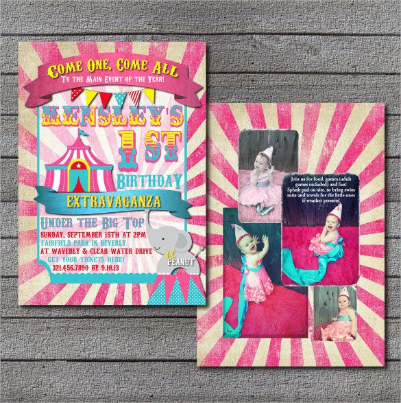 candy pink chevron carnival birthday template with custom photo