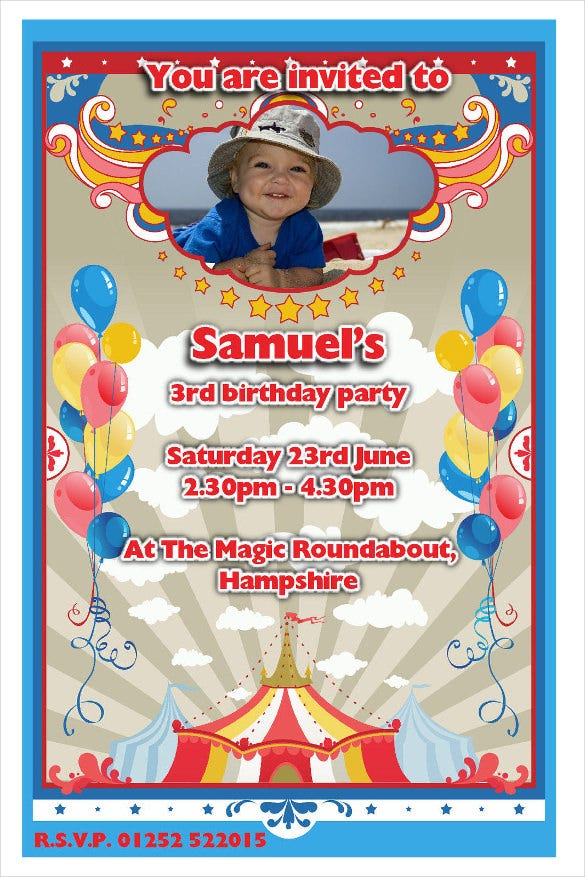 carnival balloons birthday invitation with photograph