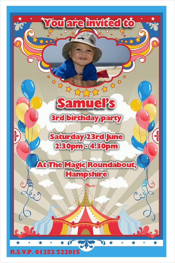 carnival balloons birthday invitation with photograph