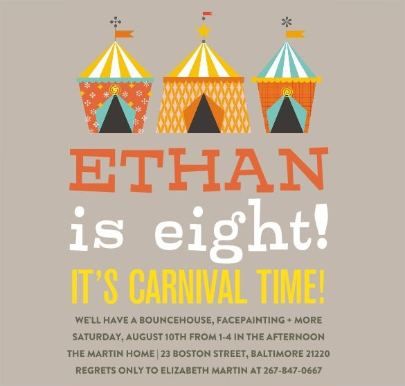 carnival birthday invitations for boy