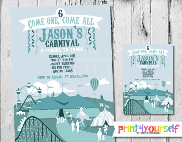 digital blue printable carnival birthday invitation